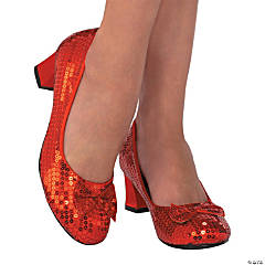 Women's Red Sequin Pumps - Medium
