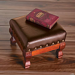 Wood And Faux Leather Footstool
