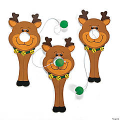 Wood Reindeer Nose Catch Games