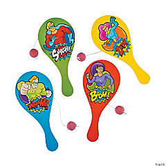 Wood Superhero Paddleballs