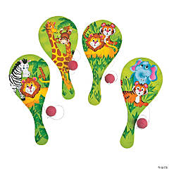 Wood Zoo Animal Paddleballs