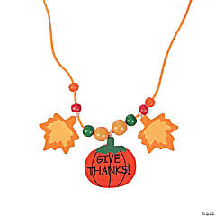 Wooden Beaded Thanksgiving Necklace Craft Kit