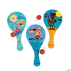 Wooden Color Your Own Tropical Paddleball Games