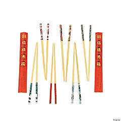 Wooden Decorated Chopsticks with Paper Wrappers