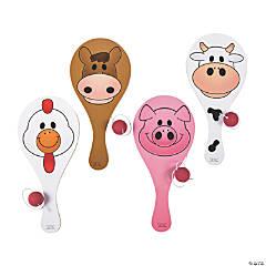 Wooden Farm Animal Paddleball Games