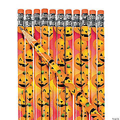 Wooden Halloween Pumpkin Pencils