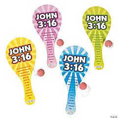 """Wooden """"John 3:16"""" Paddleball Games"""