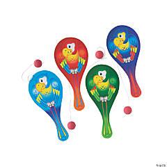 Wooden Parrot Paddleballs