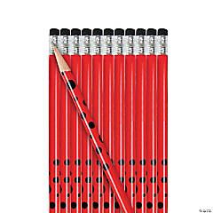 Wooden Personalized Red Polka Dot Pencils - 24 Pc.