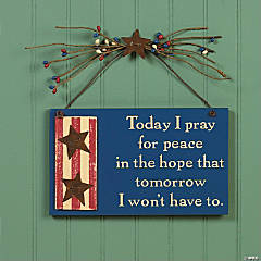 "Wooden ""Pray For Peace"" Sign"