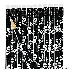 Wooden Skull And Crossbones Pencils - 24 Pc.