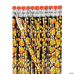 Wooden Smile Face Candy Corn Pencils - 24 Pc.