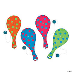 Wooden Spring Brights Paddleball Games