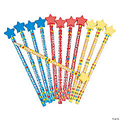 Wooden Star Student Pencils with Eraser Top - 12 Pc.