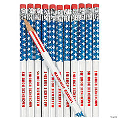 Wooden Stars And Stripes Pencils