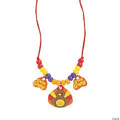Wooden Turkey Beaded Necklace Craft Kit