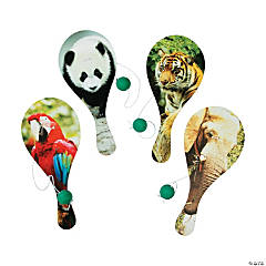 Wooden Wildlife Paddleball Games