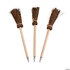 Wooden Witch's Broom Pens