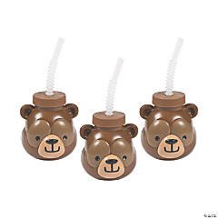 Woodland Party Bear Cups with Straws