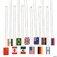 World Flag Dog Tag Necklaces