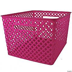 "Woven Basket, Large, Hot Pink, 14.5"" x 12"" x 8.5"", Set of 3"