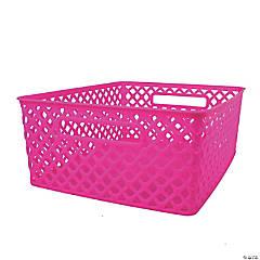 "Woven Basket, Medium, Hot Pink, 14"" x 11.25"" x 5.25"", Set of 3"