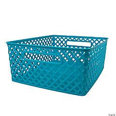 "Woven Basket, Medium, Turquoise, 14"" x 11.25"" x 5.25"", Set of 3"
