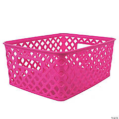 """Woven Basket, Small, Hot Pink, 10"""" x 7.75"""" x 4.25"""", Set of 3"""