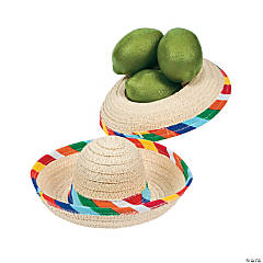 Woven Straw Mini Tabletop Sombreros