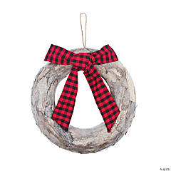 Wreath with Buffalo Plaid Bow