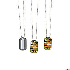 Write-A-Name Camouflage Dog Tag Necklaces