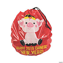 Year of the Pig Plastic Drawstring Goody Bags