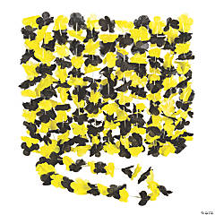Yellow & Black Hawaiian Flower Polyester Leis