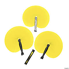 Yellow Paper Fans (12 pc)