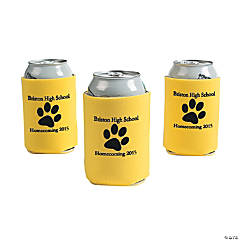 Yellow Personalized Paw Print Can Coolers
