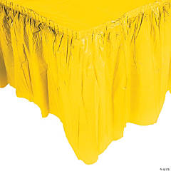 Yellow Plastic Pleated Table Skirt