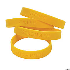 Yellow Ribbon Awareness Sayings Rubber Bracelets