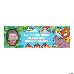 Zoo Adventure Party Photo Custom Banner - Small