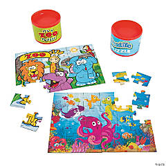 Zoo Animal & Sea Life Puzzles in Cans