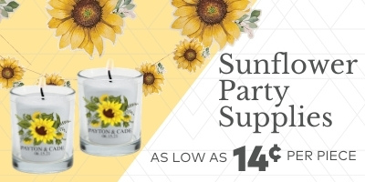 Sunflower party supplies as low as 14 cents per piece