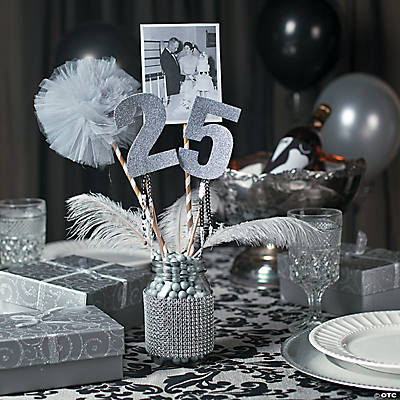 25th Anniversary Party Mason Jar Centerpiece Idea Oriental Trading
