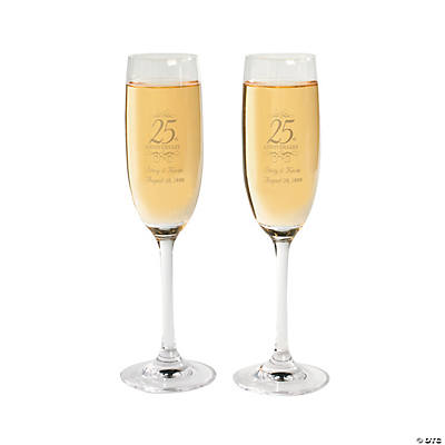 25th Anniversary Personalized Champagne Flutes