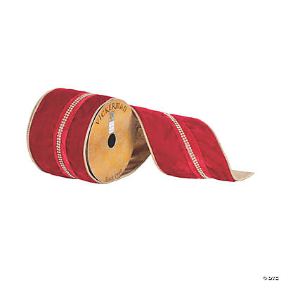 4 X 10yd Red Velvet Ribbon With Jewel Center Stripe And Gold Edge