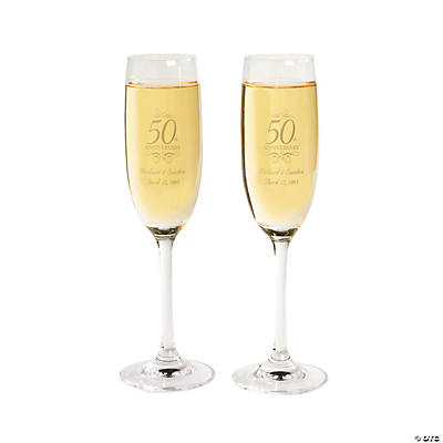 50th Anniversary Personalized Champagne Flutes