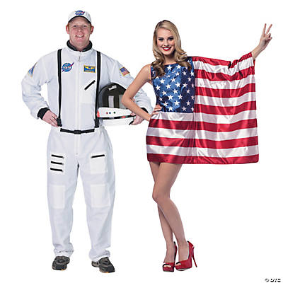 Adult's Astronaut & American Flag Couples Costumes