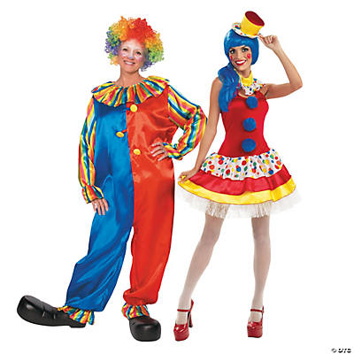 Adult's Colorful Clown Couples Costumes