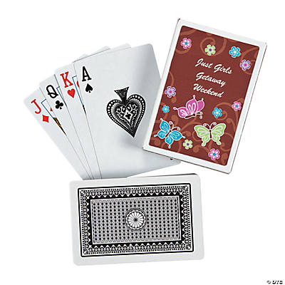All Aflutter Brown Butterfly Personalized Playing Cards