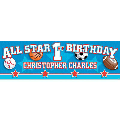 All-Star Sports 1st Birthday Photo Custom Banner - Medium Image Thumbnail