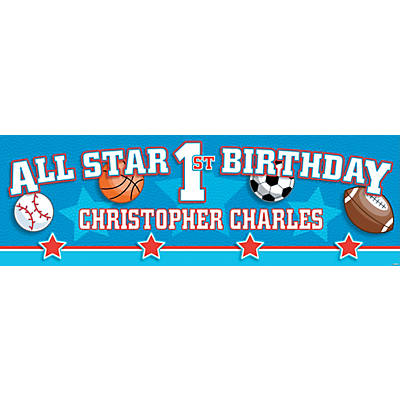 All-Star Sports 1st Birthday Photo Custom Banner - Small Image Thumbnail