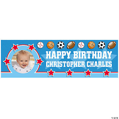 All-Star Sports Birthday Photo Custom Banner - Medium Image Thumbnail